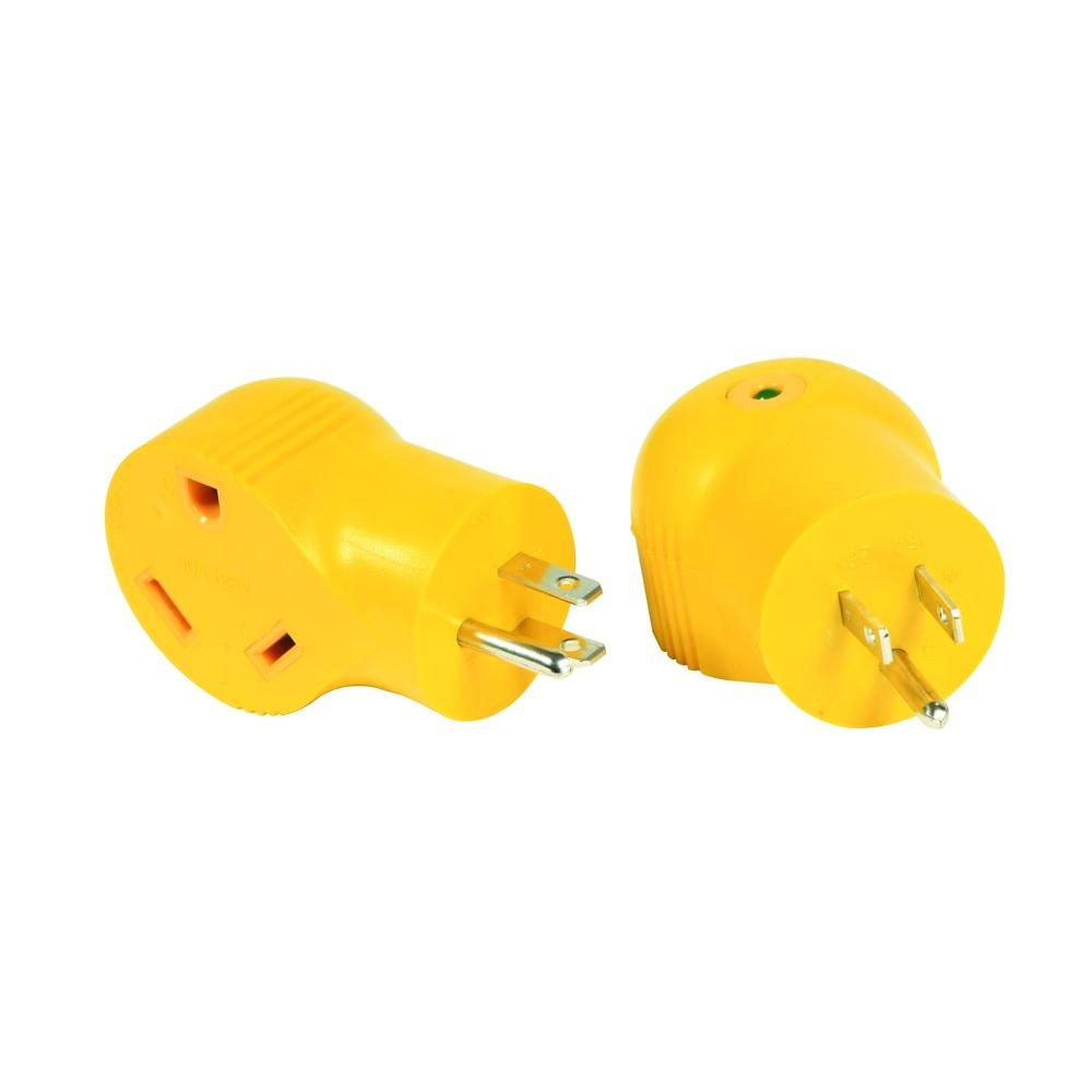 15 Amp Male / 30 Amp Female 90-Degree Electrical Adapter
