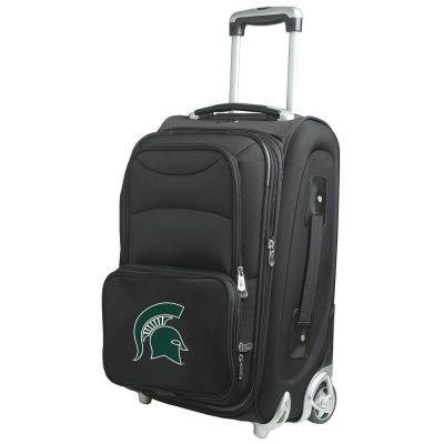 Denco NCAA Michigan State 21 in. Black Carry-On Rolling Softside Suitcase