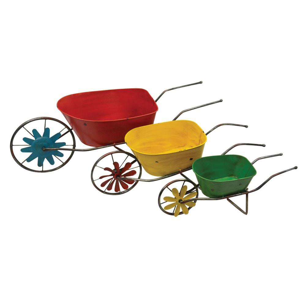 Planters 3-Piece Nested Wheel Barrels