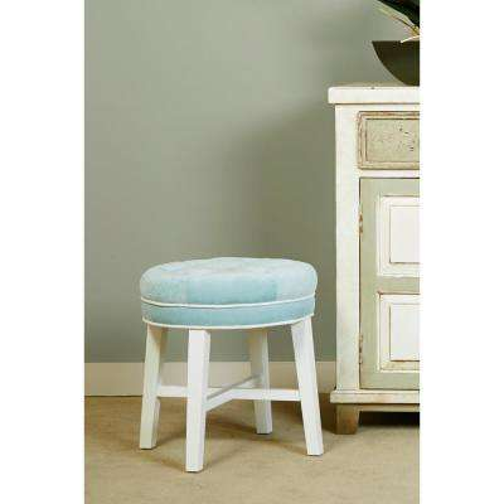 Sophia Aqua Blue Fabric Vanity Stool