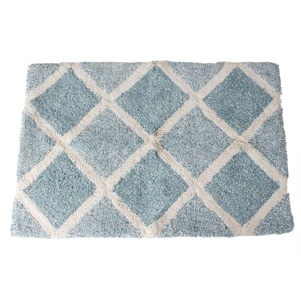 Saay Knight Modena 31 In X 21 Cotton Bath Rug Light Blue
