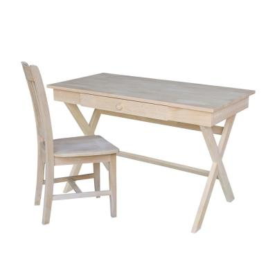 Unfinished Solid Wood 48 in. Cross Leg Desk with Chair (2-pc Set)