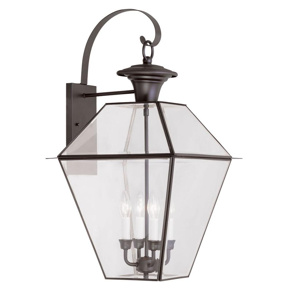 Shop Providence Wall-Mount 4-Light Bronze Outdoor Incandescent Wall Lantern Sconce from Home Depot on Openhaus
