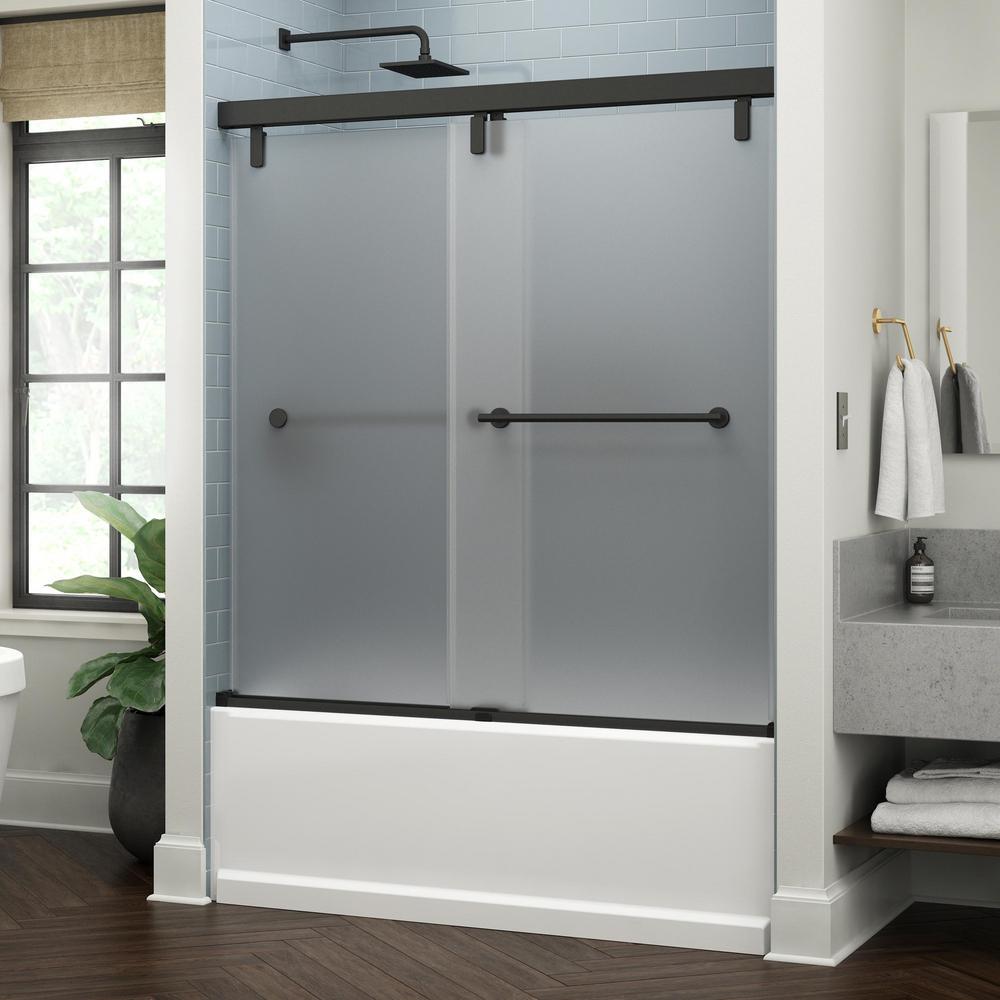 Lyndall 60 x 59-1/4 in. Frameless Mod Soft-Close Sliding Bathtub Door in Matte Black with 3/8 in. (10 mm) Niebla Glass