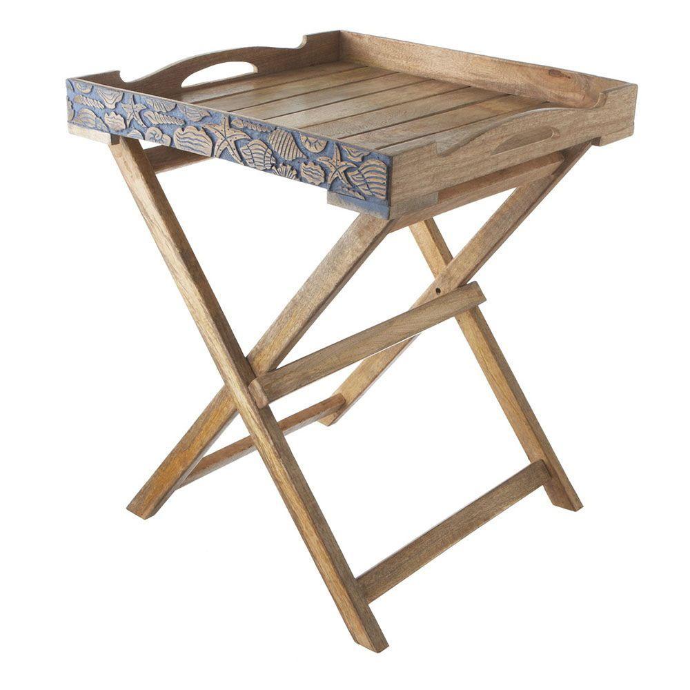 Sundry Tan Hand Carved Folding Tray Table