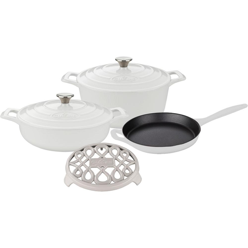 6-Piece Enameled Cast Iron Cookware Set with Saute, Skillet and Round