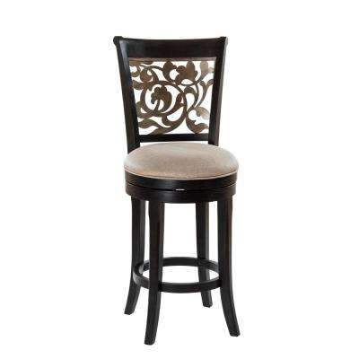 Bennington 26 in. Black Distressed Gray Swivel Cushioned Counter Stool