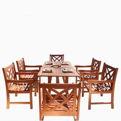 Malibu 7-Piece Wood Outdoor Dining Set