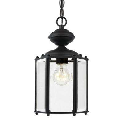 Classico 1-Light Black Outdoor Semi-Flushmount Convertible Pendant with Clear Beveled Glass