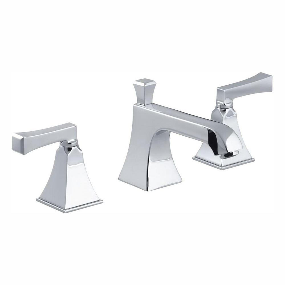 KOHLER Memoirs 8 in. Widespread 2-Handle Low Arc Water-Saving Bathroom Faucet in Polished Chrome with Deco Lever Handles