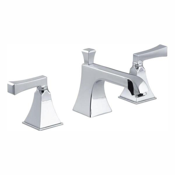 Memoirs 8 in. Widespread 2-Handle Low Arc Water-Saving Bathroom Faucet in Polished Chrome with Deco Lever Handles