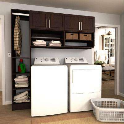 Madison 75 in. W Mocha Open Shelves Laundry Cabinet Kit