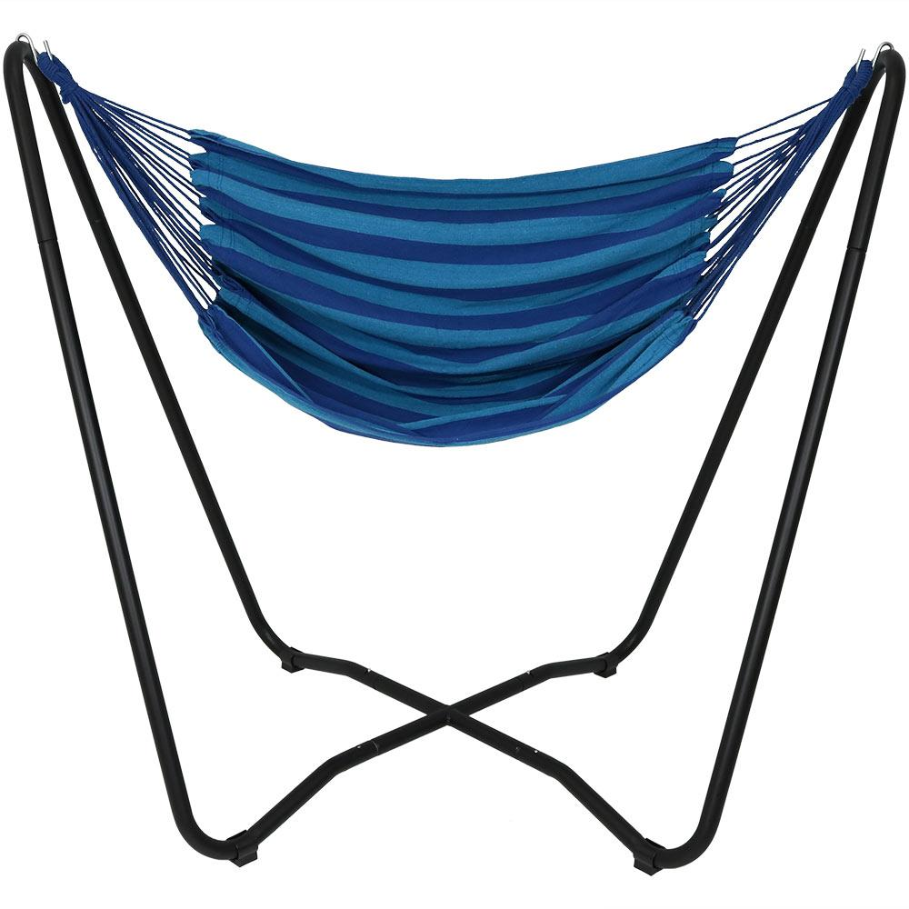 5 ft. Fabric Hanging Hammock Chair Swing with Space-Saving Stand in