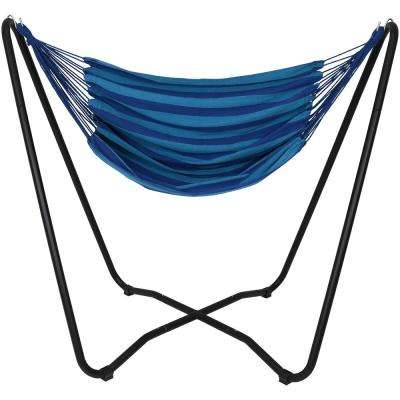 5 ft. Fabric Hanging Hammock Chair Swing with Space-Saving Stand in Beach Oasis