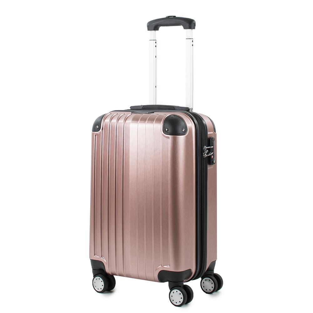 Melrose Rose Gold 20 in. Carry-On Polycarbonate Expandable Spinner Luggage with