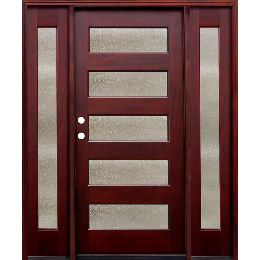Modern Red Front Door: Pacific Entries 70 In. X 80 In. Contemporary 5 Lite Seedy