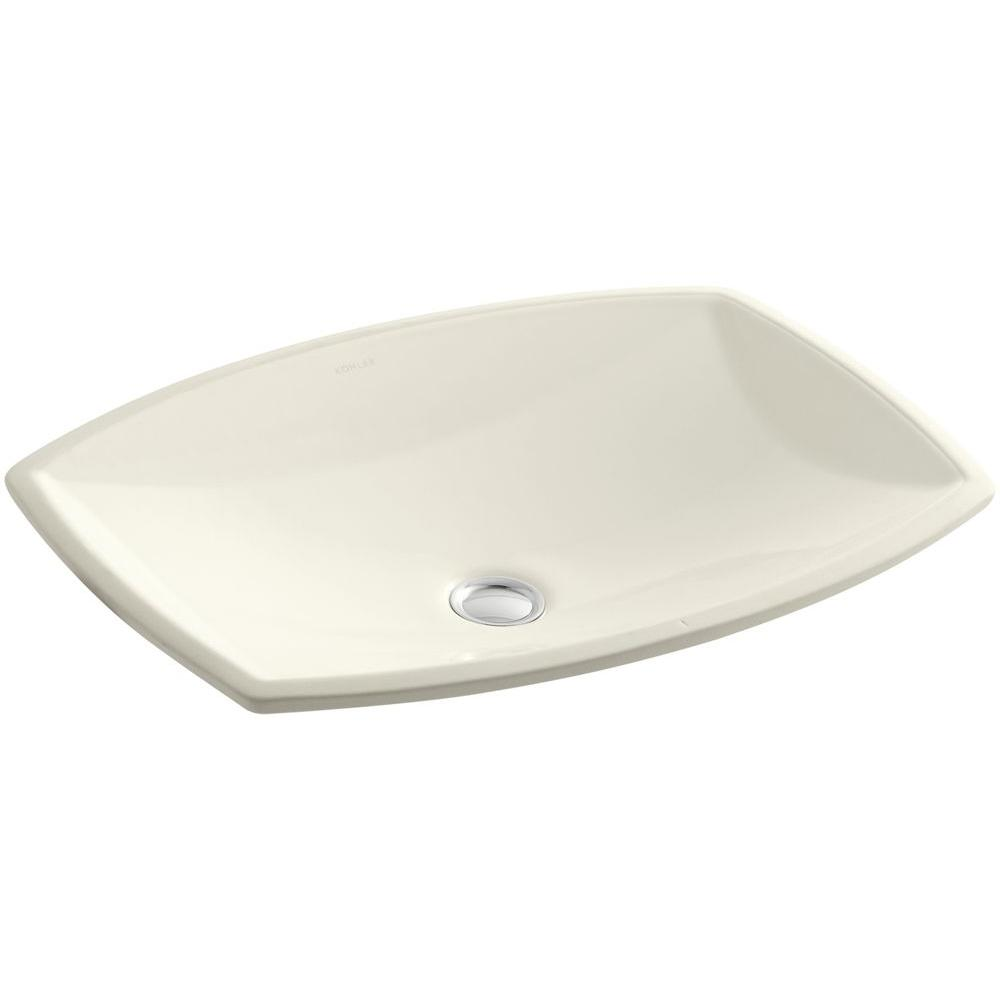 Kelston Vitreous China Undermount Bathroom Sink with Overflow Drain in Biscuit