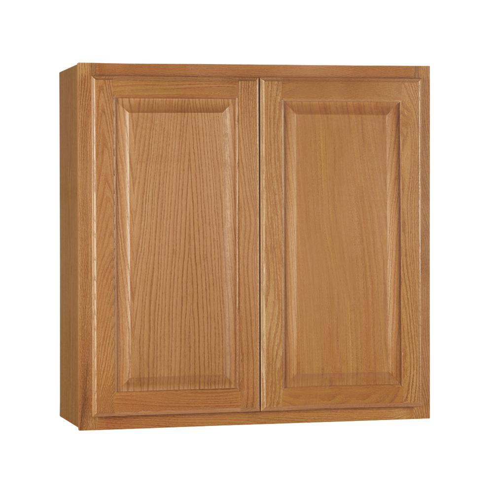 Hampton Assembled 30x30x12 in. Wall Kitchen Cabinet in Medium Oak