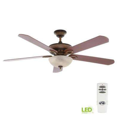 Asbury 60 in. LED Indoor Gilded Espresso Ceiling Fan with Light Kit