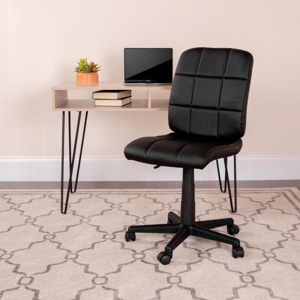 Flash Furniture Mid-Back Black Quilted Vinyl Swivel Task Chair GO16911BK