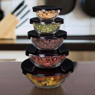 10-Piece Glass Bowl Set with Black Lids