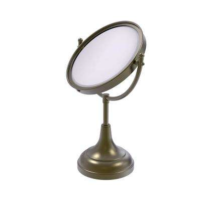 15 in. x 8 in. Vanity Top Make-Up Mirror 4x Magnification in Antique Brass