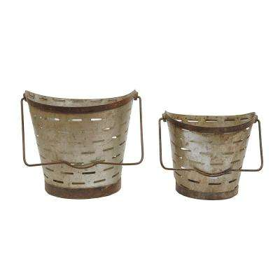 10 in. and 8 in. H Metal Buckets (Set of 2)