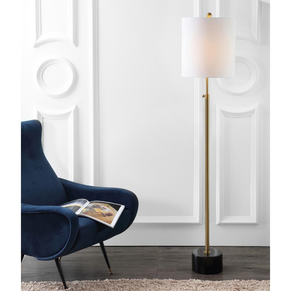 Crosby 66 in. Brass/Black Marble Metal Adjustable Height Floor Lamp