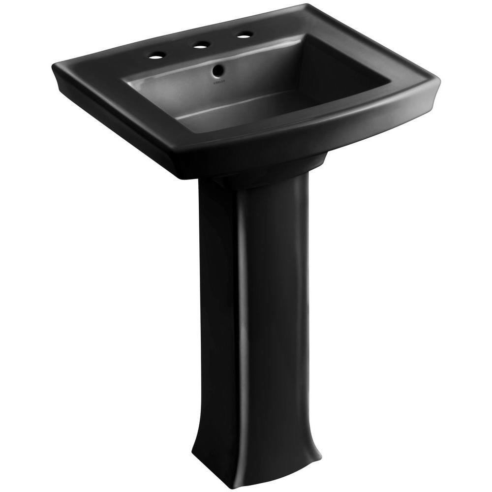 Archer Vitreous China Pedestal Combo Bathroom Sink in Black with Overflow