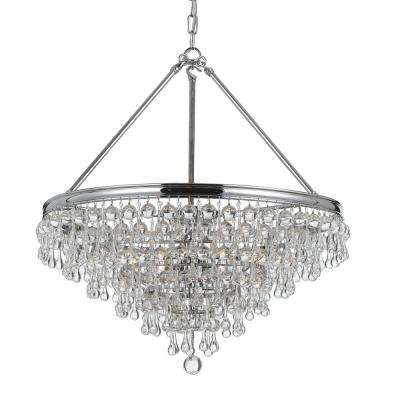Calypso 6-Light Crystal Teardrop Polished Chrome Chandelier