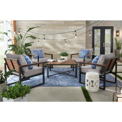 West Park Black Aluminum Outdoor Patio Lounge Chair with CushionGuard Stone Gray Cushions (2-Pack)