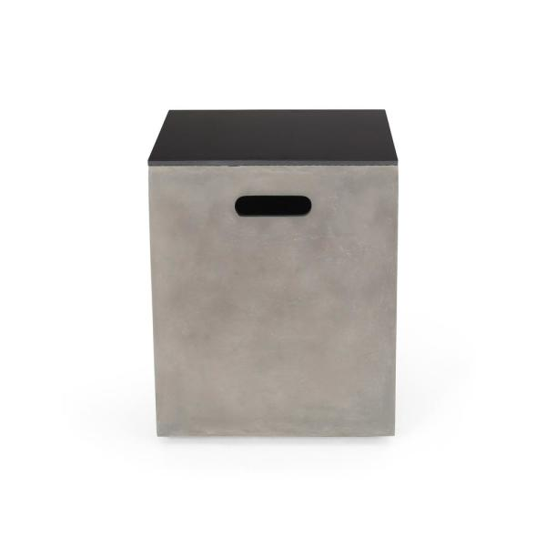 Aido 20 in. Light Grey Square Stone Outdoor Side Table