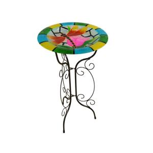 Alpine 18 inch Glow in the Dark Glass Dragonfly Birdbath by Alpine