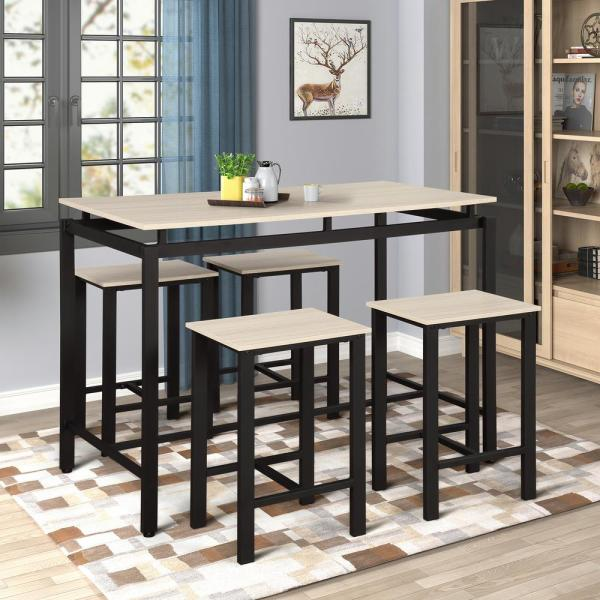 Beige 5-Piece Wood and Metal Pub Table Dining Set with 4-Bar Stools