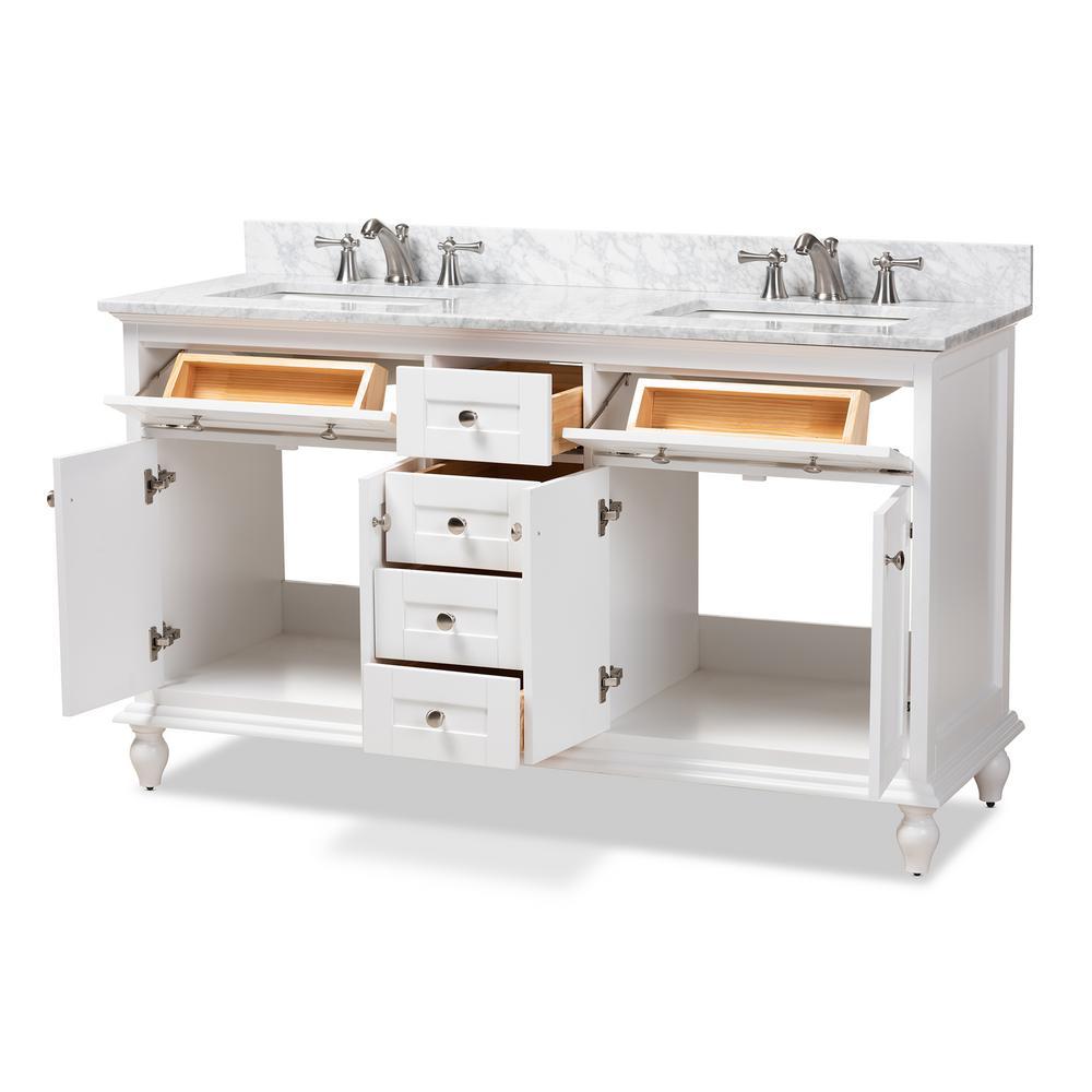 60 in. W x 34.7 in. H Bath Vanity in White w/ High Gloss White Basin w/ Vanity Top in White w/ High Gloss White Basin