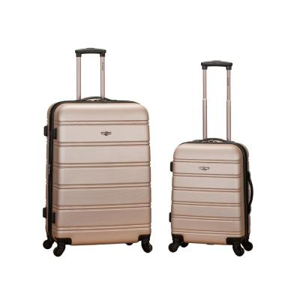 Rockland Melbourne Expandable 2-Piece Hardside Spinner Luggage Set, Champagne