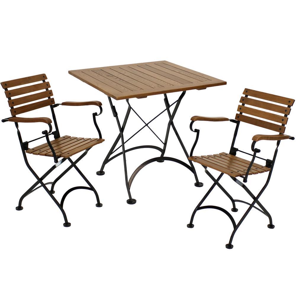 Essential European Chestnut Wood 3-Piece Folding Outdoor Bistro Set