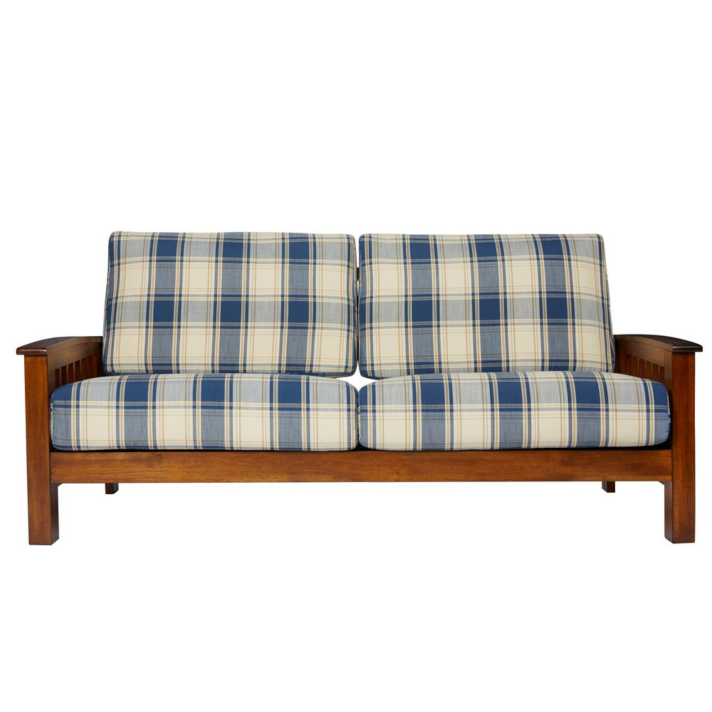 Omaha Mission Style Sofa with Exposed Wood Frame in Blue Plaid