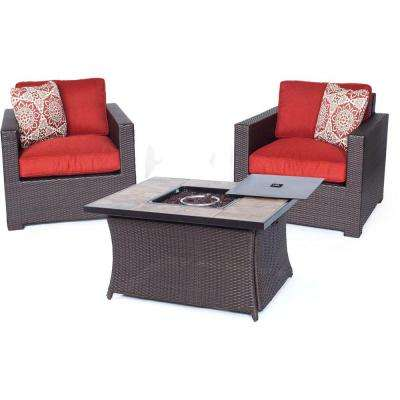 Metropolitan Brown 3-Piece All-Weather Wicker Patio LP Gas Fire Pit Chat Set with Autumn Berry Cushions