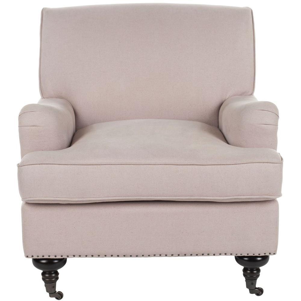 Chloe Taupe/Espresso Linen Club Arm Chair