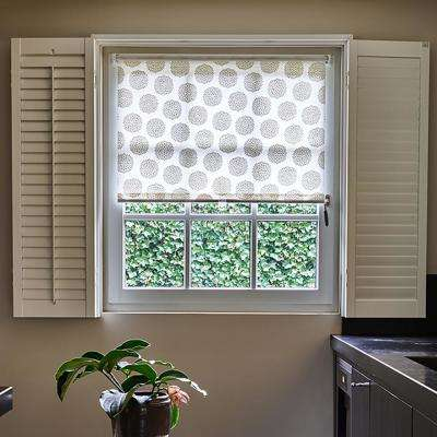 Cut-to-Size Flower Linen Cordless Light Filtering Fabric Roller Shade 30.5 in. W x 72 in. L