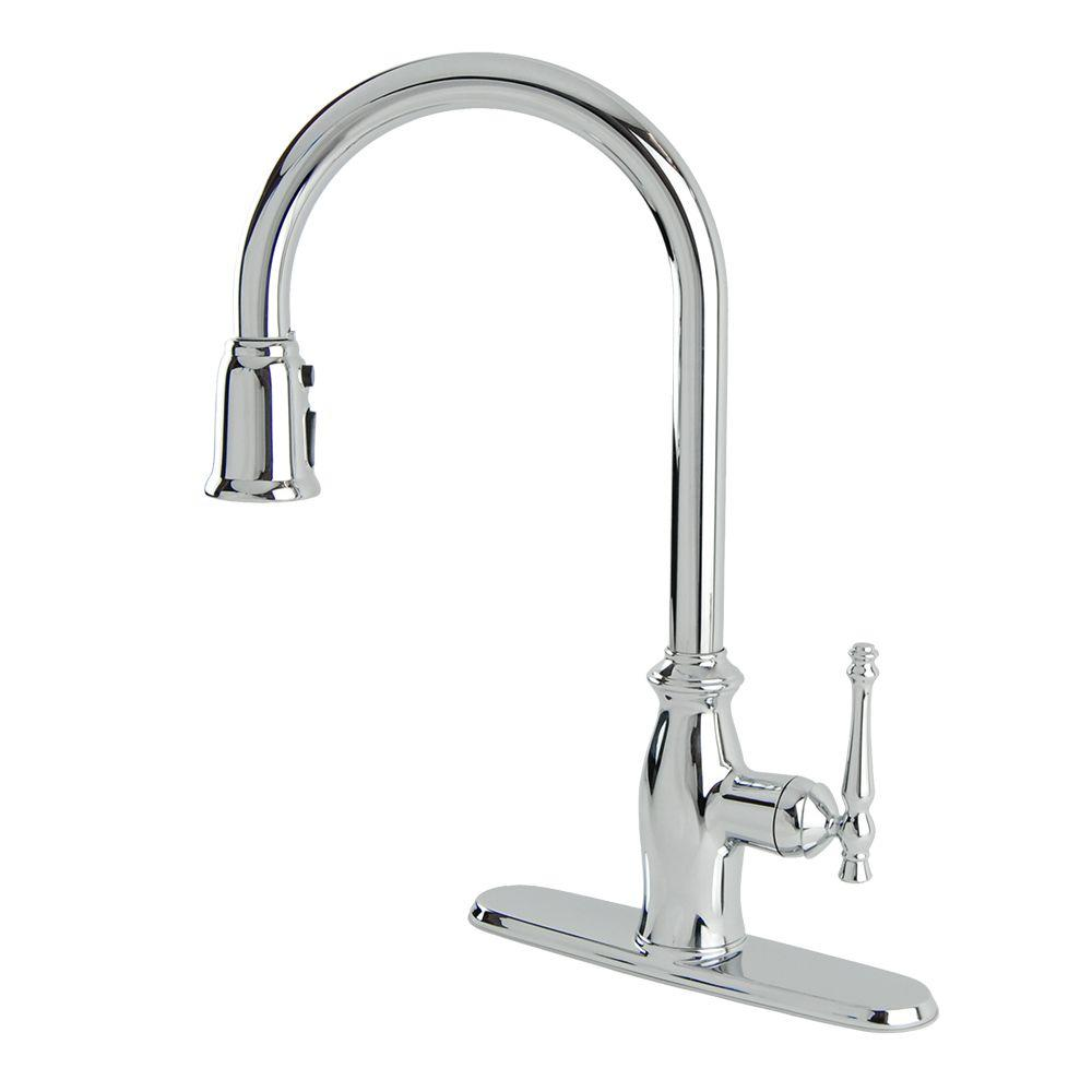 Giordana Single-Handle Pull-Down Sprayer Kitchen Faucet in Chrome