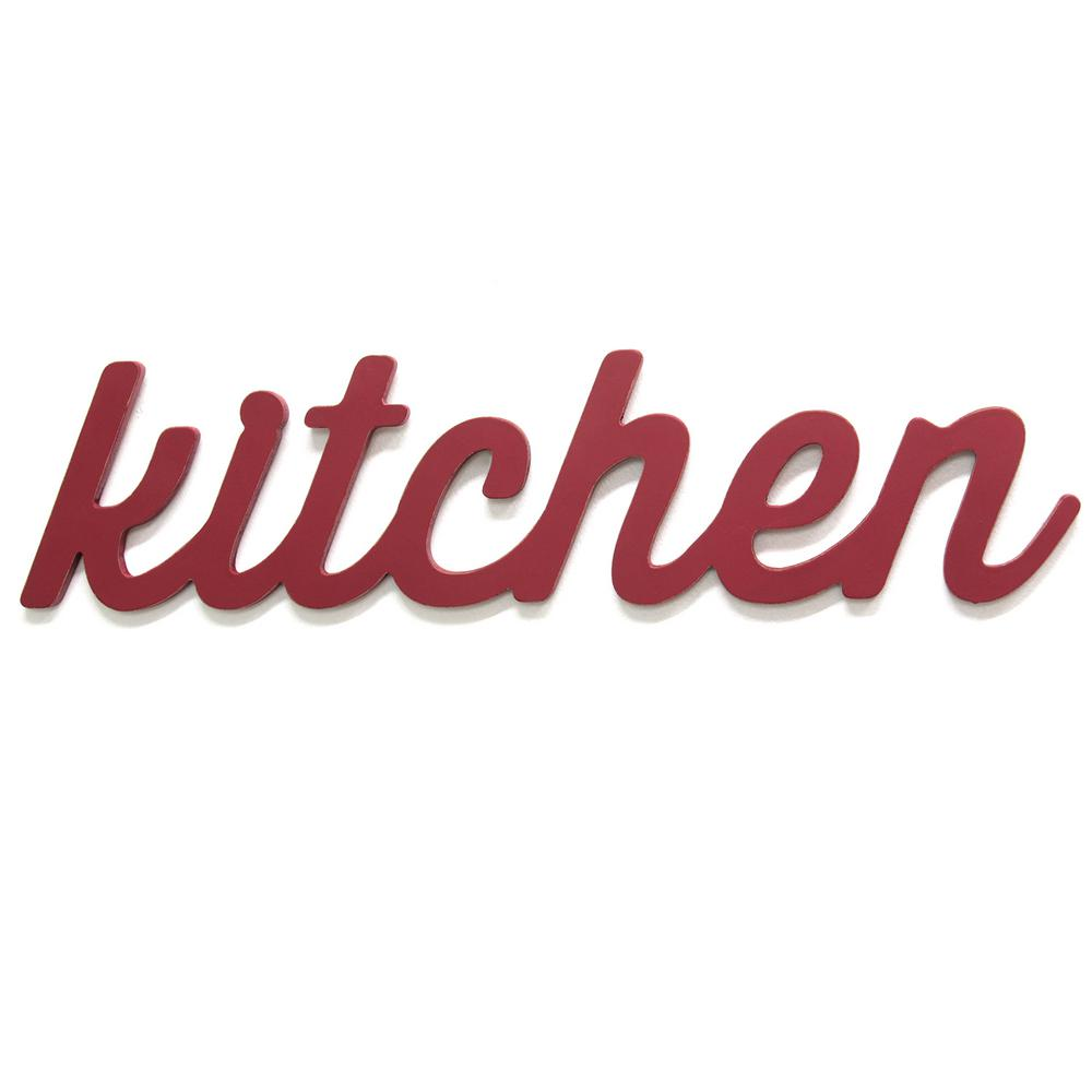 Stratton Home Decor Red Kitchen Wood Word Dcor-S11581