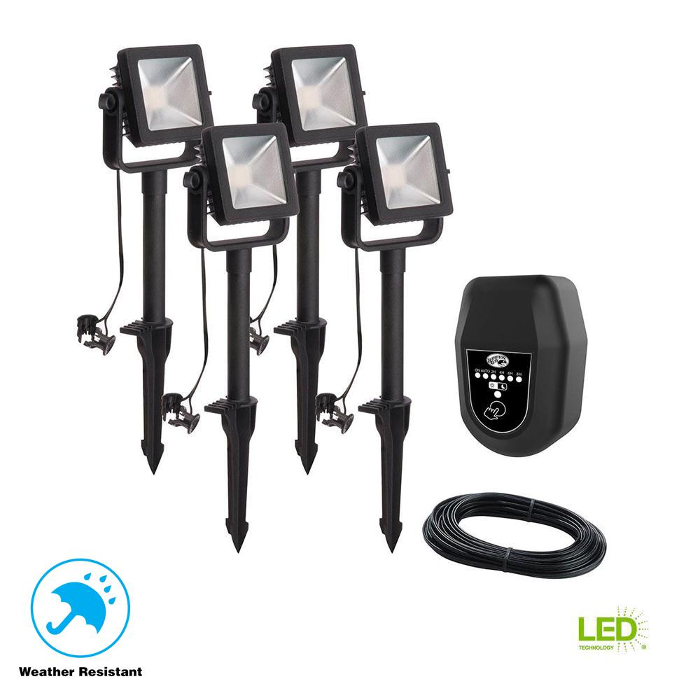 Low Voltage Black Outdoor Integrated Led Landscape Flood Light 4 Pack