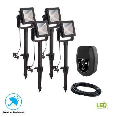 Low Voltage Black Outdoor Integrated LED Landscape Flood Light (4-Pack)