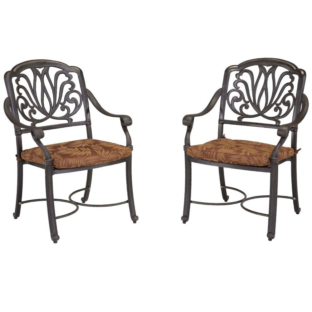 Admirable Home Styles Floral Blossom Patio Arm Chairs With Burnt Sierra Leaf Cushions Set Of 2 Download Free Architecture Designs Intelgarnamadebymaigaardcom