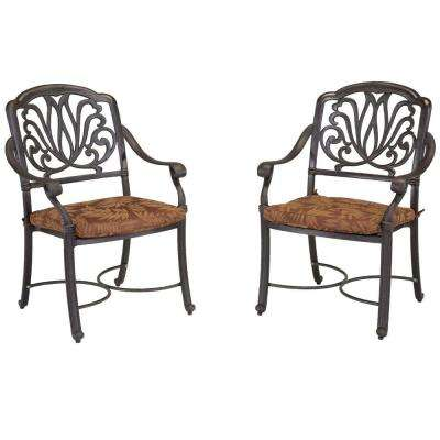 Floral Blossom Patio Arm Chairs with Burnt Sierra Leaf Cushions (Set of 2)