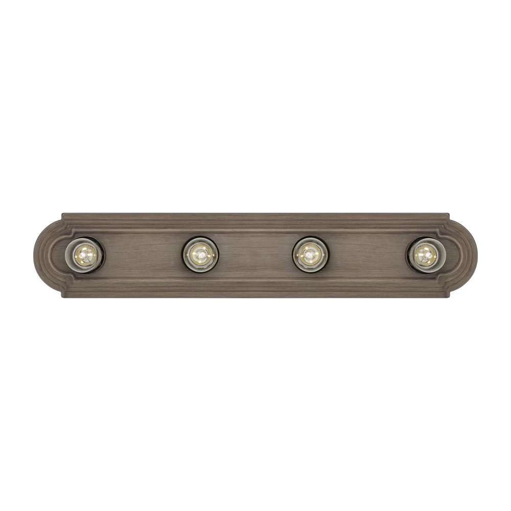 Sea Gull Lighting De-Lovely 24 in. W 4-Light Distressed Oak Farmhouse Hollywood Bathroom Vanity Light with Weathered Gray Bulb Sleeves