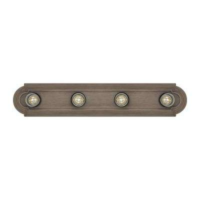 De-Lovely 24 in. W 4-Light Distressed Oak Hollywood Bathroom Vanity Light with Weathered Gray Light Bulb Sleeves