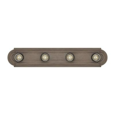 De-Lovely 24 in. 4-Light Distressed Oak Vanity Light with Weathered Gray Bulb Sleeves